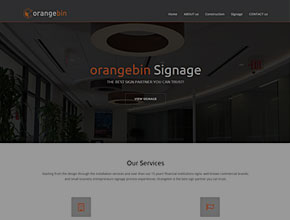professional website design for myorangebin.com signs and banks interior